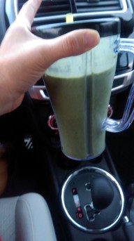 Greenberry Shakeology with almond milk, honey and ice.